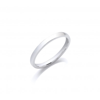 1.5mm Ladies Light Weight 18ct White Gold D Shape Wedding Band