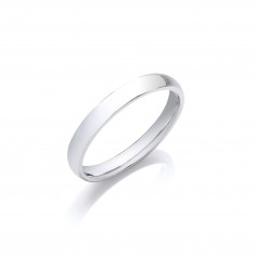 3mm Gents Medium Weight 18ct White Gold D Shape Wedding Band