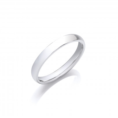 3mm Ladies Medium Weight 18ct White Gold D Shape Wedding Band