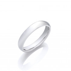 4mm Gents Medium Weight 9ct White Gold Court Shape Wedding Band