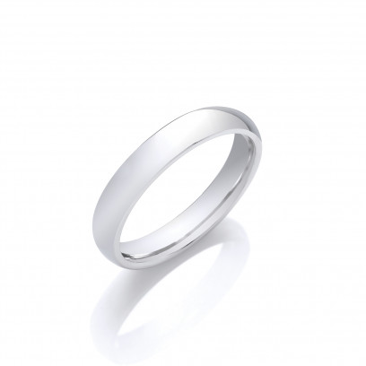 4mm Gents Light Weight 9ct White Gold D Shape Wedding Band