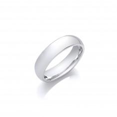 5mm Ladies Medium Weight Palladium Court Shape Wedding Band