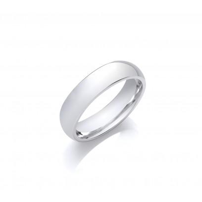 5mm Gents Light Weight Platinum D Shape Wedding Band