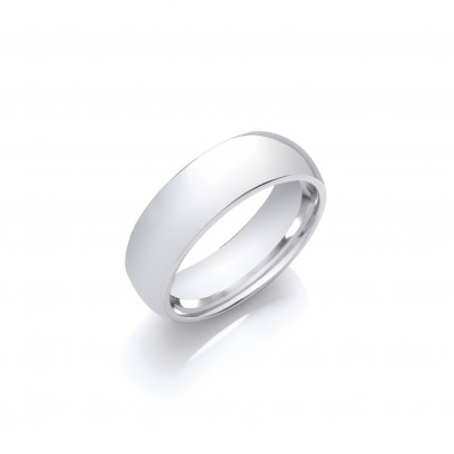 6mm Gents Heavy Weight 18ct White Gold Court Shape Wedding Band