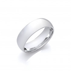 7mm Gents Light Weight 18ct White Gold Court Shape Wedding Band