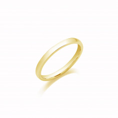 2.5mm Ladies Light Weight 9ct Yellow Gold D Shape Wedding Band
