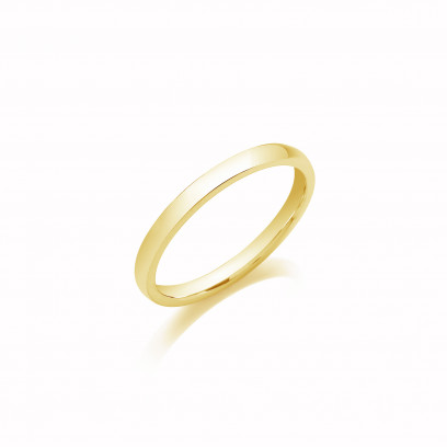 2mm Ladies Light Weight 9ct Yellow Gold D Shape Wedding Band