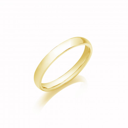 3mm Gents Heavy Weight 9ct Yellow Gold D Shape Wedding Band