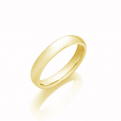 4mm Gents Heavy Weight 9ct Yellow Gold D Shape Wedding Band
