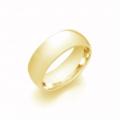 8mm Gents Medium Weight 18ct Yellow Gold Court Shape Wedding Band