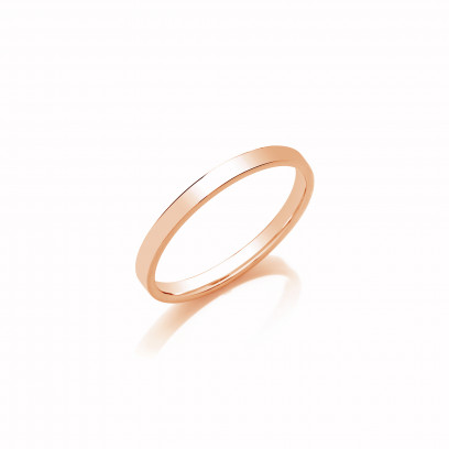 1.75mm Ladies Heavy Weight 18ct Rose Gold Flat Court  Shape Wedding Band
