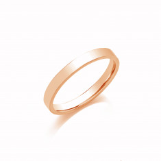 4mm Gents Medium Weight 9ct Rose Gold Flat Court  Shape Wedding Band