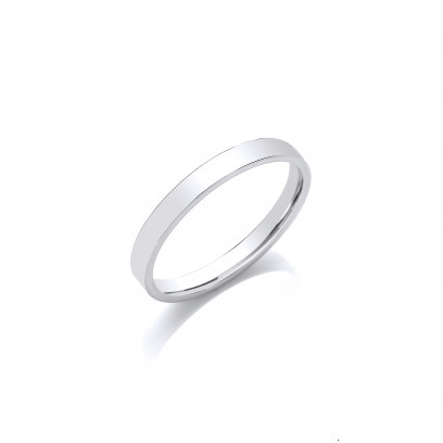 3mm Gents Light Weight 9ct White Gold Flat Court  Shape Wedding Band