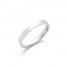 4mm Gents Medium Weight 9ct White Gold Flat Court  Shape Wedding Band