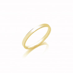 2mm Ladies Medium Weight 9ct Yellow Gold Flat Court  Shape Wedding Band