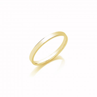 2mm Ladies Light Weight 18ct Yellow Gold Flat Court  Shape Wedding Band