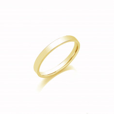 3mm Gents Light Weight 18ct Yellow Gold Flat Court  Shape Wedding Band
