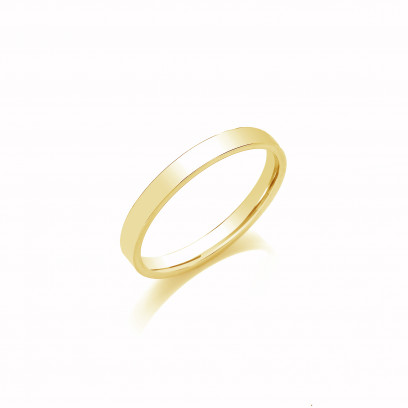 3mm Gents Light Weight 9ct Yellow Gold Flat Court  Shape Wedding Band