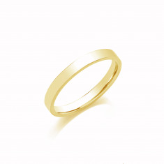 4mm Gents Medium Weight 9ct Yellow Gold Flat Court  Shape Wedding Band