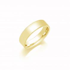5mm Ladies Light Weight 18ct White Gold Flat Court  Shape Wedding Band