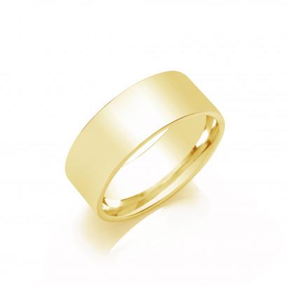 8mm Gents Medium Weight 18ct White Gold Flat Court  Shape Wedding Band