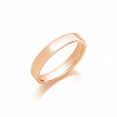 4mm Gents Medium Weight 9ct Rose Gold Soft Court Wedding Band