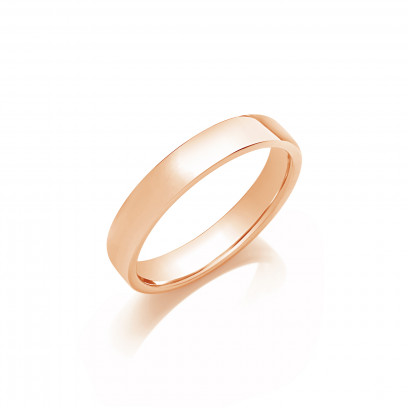 4mm Gents Light Weight 9ct Rose Gold Soft Court Wedding Band