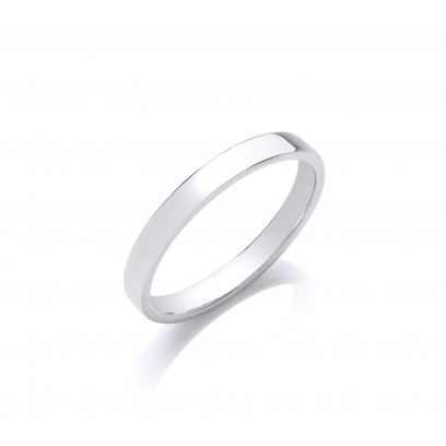 3mm Gents Light Weight 9ct White Gold Soft Court Wedding Band