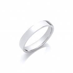 4mm Gents Medium Weight 9ct White Gold Soft Court Wedding Band
