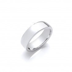 7mm Gents Light Weight 18ct White Gold Soft Court Wedding Band