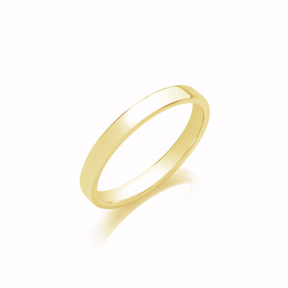 3mm Gents Heavy Weight 9ct Yellow Gold Soft Court Wedding Band