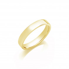 4mm Gents Medium Weight 9ct Yellow Gold Soft Court Wedding Band