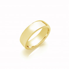 6mm Gents Light Weight 18ct White Gold Soft Court Wedding Band
