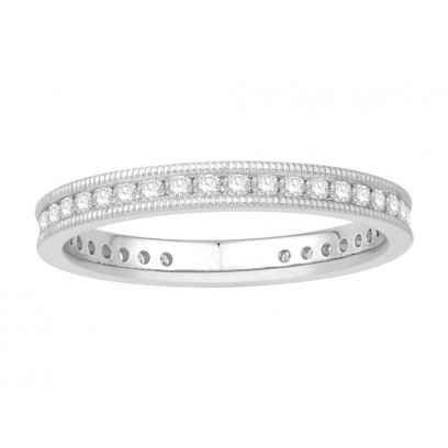 18 ct White Gold Ladies Channel Set with the Milgrain Edge Eternity Ring set with 0.33 ct of Diamonds.