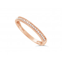 18ct Rose Gold Ladies 2.2mm Wide Diamond Band, set with 26 Round Brilliant cut Diamonds with Millgrain Edge, Total Diamond Weight 0.10ct H S/I
