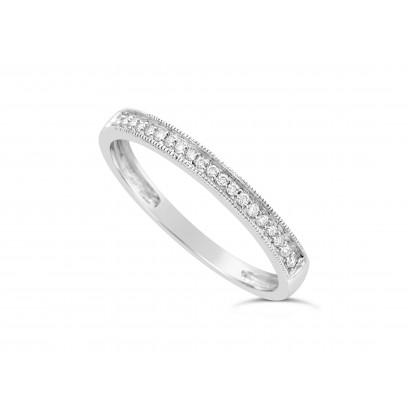 18ct White Gold Ladies 2.2mm Wide Diamond Band, set with 26 Round Brilliant cut Diamonds with Millgrain Edge, Total Diamond Weight 0.10ct H S/I