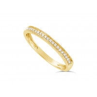 18ct Yellow Gold Ladies 2.2mm Wide Diamond Band, set with 26 Round Brilliant cut Diamonds with Millgrain Edge, Total Diamond Weight 0.10ct H S/I