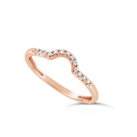 18ct Red Gold Ladies 1.5mm Wide Diamond Shaped Ring, set with 15 Round Brilliant cut Diamonds in Undercut Setting, Total Diamond Weight 0.09ct H S/I