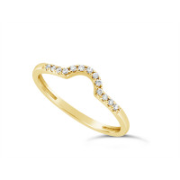 18ct Yellow Gold Ladies 1.5mm Wide Diamond Shaped Ring, set with 15 Round Brilliant cut Diamonds in Undercut Setting, Total Diamond Weight 0.09ct H S/I