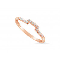 18ct Red Gold Ladies 1.5mm Wide Diamond Shaped Ring, set with 16 Round Brilliant cut Diamonds in Undercut Setting, Total Diamond Weight 0.10ct H S/I
