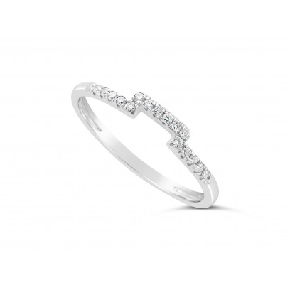 18ct White Gold Ladies 1.5mm Wide Diamond Shaped Ring, set with 16 Round Brilliant cut Diamonds in Undercut Setting, Total Diamond Weight 0.10ct H S/I