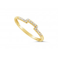 18ct Yellow Gold Ladies 1.5mm Wide Diamond Shaped Ring, set with 16 Round Brilliant cut Diamonds in Undercut Setting, Total Diamond Weight 0.10ct H S/I