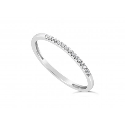 18ct White Gold Ladies 1.25mm Wide Diamond Band, set with 15 Round Brilliant cut Diamonds in Undercut Setting ,Total Diamond Weight 0.07ct H S/I