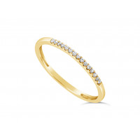 18ct Yellow Gold Ladies 1.25mm Wide Diamond Band, set with 15 Round Brilliant cut Diamonds in Undercut Setting ,Total Diamond Weight 0.07ct H S/I