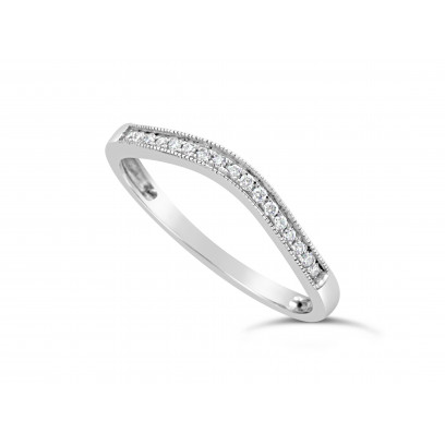 Platinum Ladies 2mm Wide Shallow Curved Band, set with 17 Round Brilliant Cut Diamonds in Pavé Setting, Total Diamond Weight 0.08ct H S/I