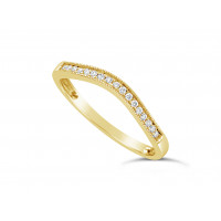 18ct Yellow Gold Ladies 2mm Wide Shallow Curved Band, set with 17 Round Brilliant Cut Diamonds in Pavé Setting, Total Diamond Weight 0.08ct H S/I