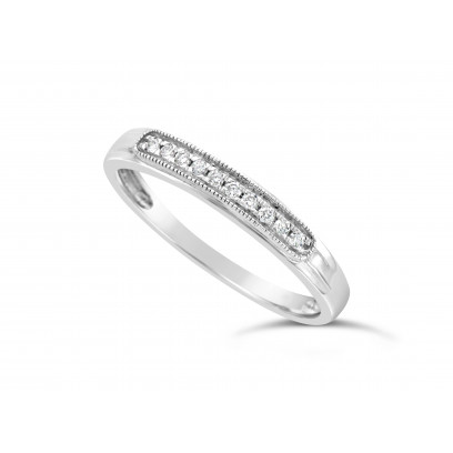 18ct White Gold Ladies 3mm Wide Band, set with 10 Round Brilliant Cut Diamonds in a Slight Raised Oblong Pavé Set Box, TDW 0.07ct H S/I