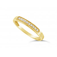18ct Yellow Gold Ladies 3mm Wide Band, set with 10 Round Brilliant Cut Diamonds in a Slight Raised Oblong Pavé Set Box, TDW 0.07ct H S/I