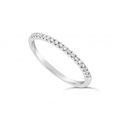 18ct White Gold Ladies 1.5mm Wide Band, set with 18 Round Brilliant cut Diamonds in Under Cut Setting, Total Diamond Weight 0.31ct H S/I
