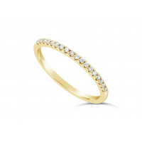 18ct Yellow Gold Ladies 1.5mm Wide Band, set with 18 Round Brilliant cut Diamonds in Under Cut Setting, Total Diamond Weight 0.31ct H S/I
